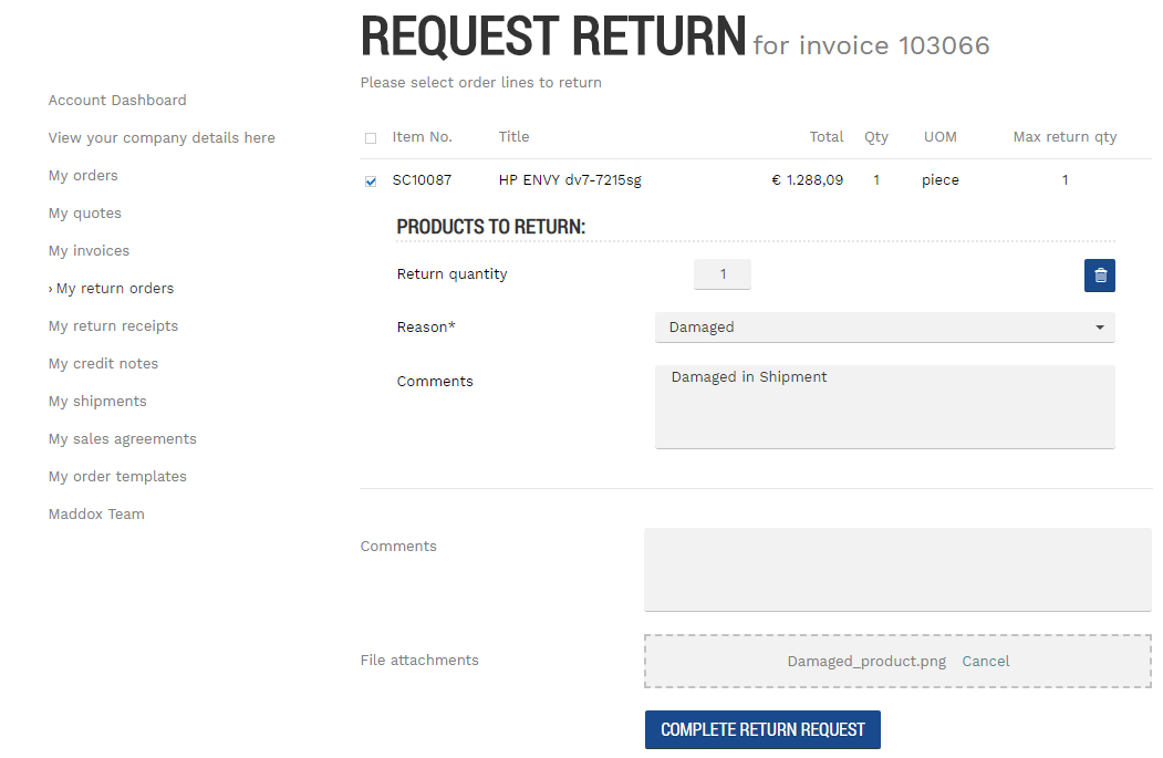 Return Orders