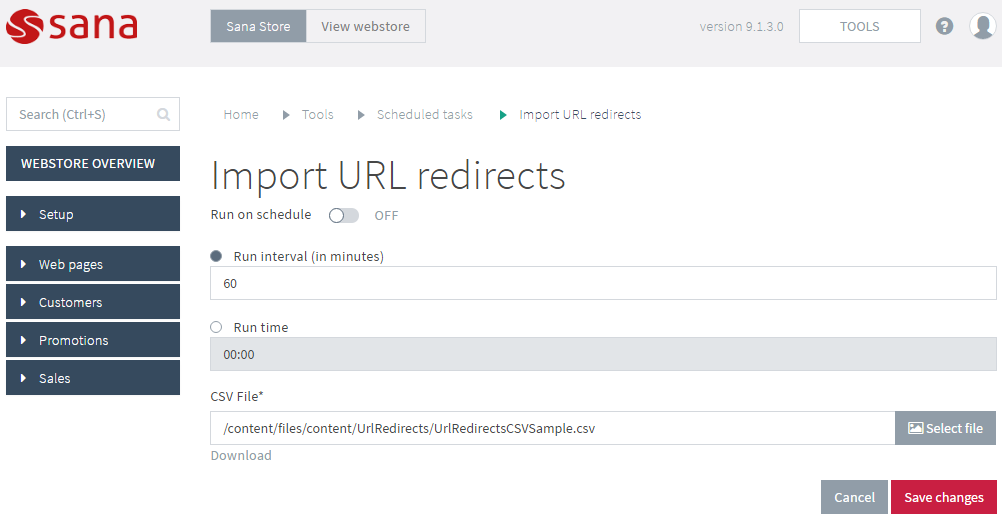Configure the Import URL Redirects Task