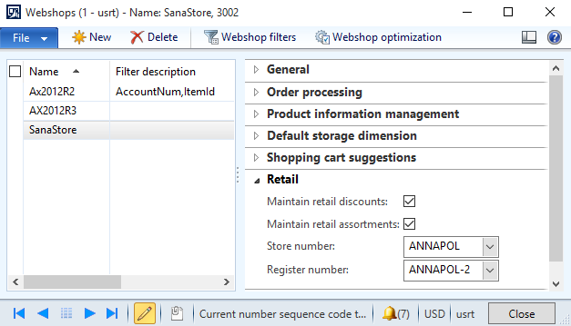 Set up Retail Parameters