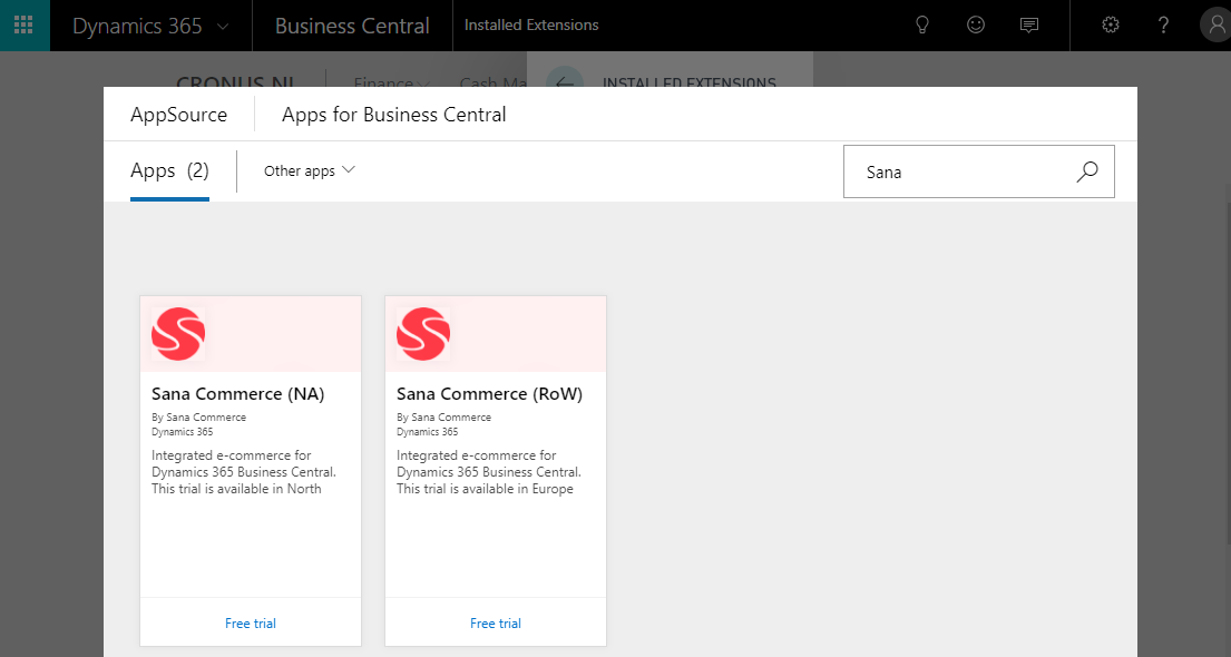 Install Sana in Microsoft Dynamics 365 Business Central (Cloud)
