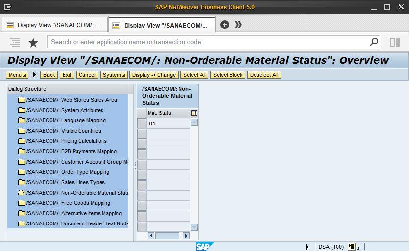 Non-Orderable Material Status