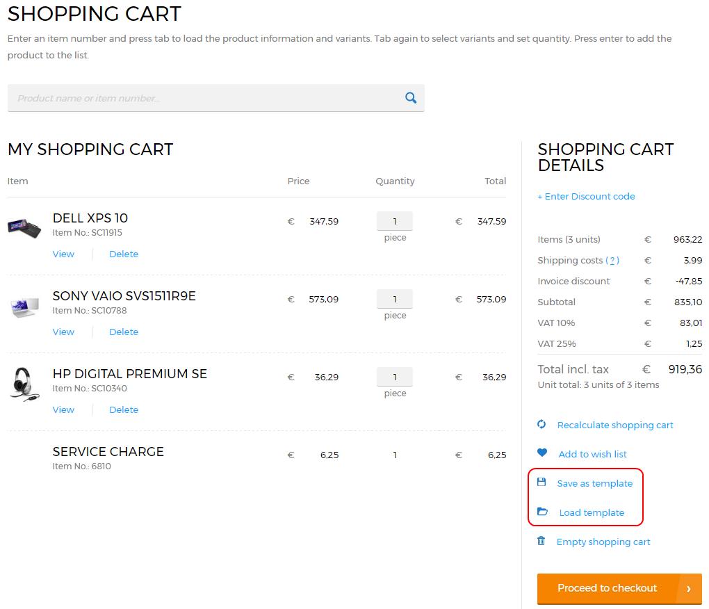 Sana Commerce 9.2  Order Templates
