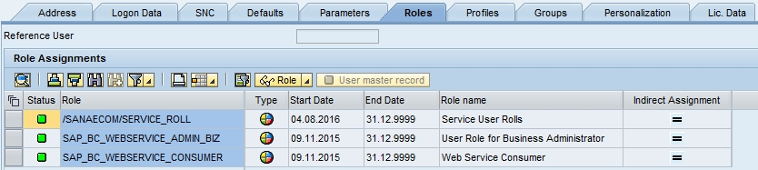 Create SAP Service Web User Account (SU01)