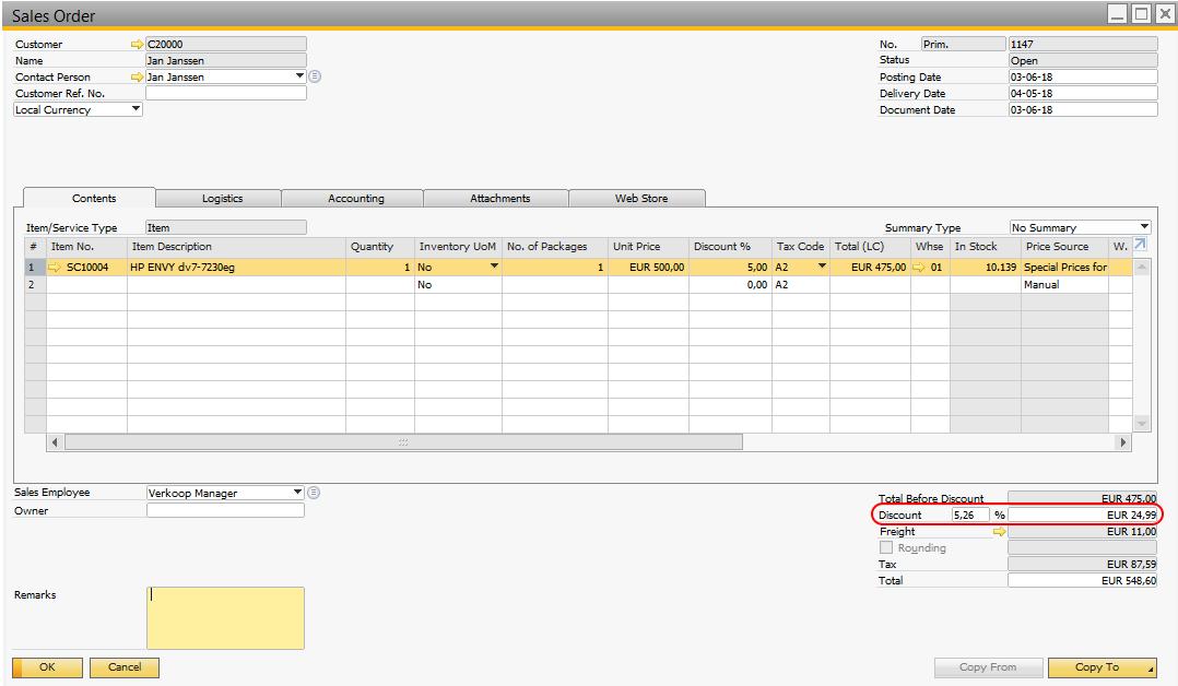 Discounts in SAP B1
