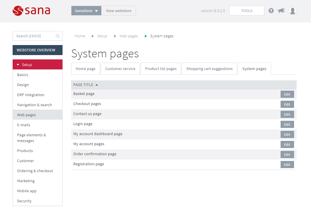 System Pages